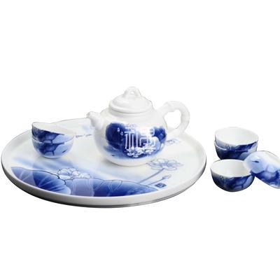 骨质瓷荷花茶壶套装商务礼品