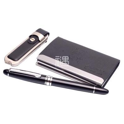 萨博尔真皮办公用品商务套装礼品宝珠笔+名片盒+8GU盘