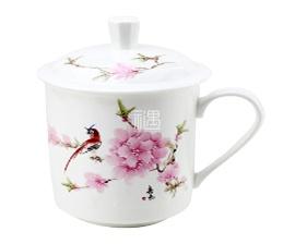 骨瓷杯碟系列带盖茶杯