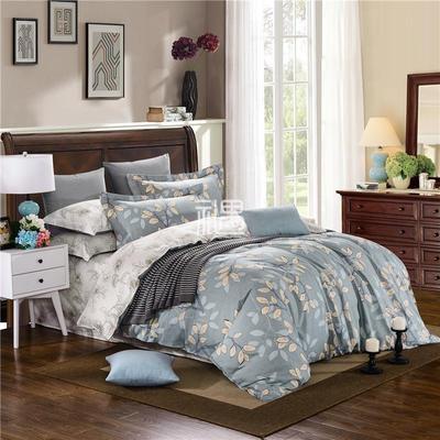 全棉色织印花床上用品四件套 小叶物语