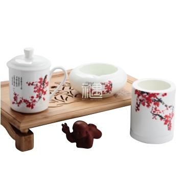 骨质瓷红梅商务系列办公用品三件套