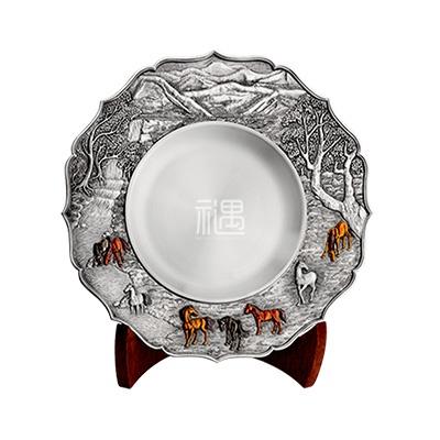 八骏图珐琅彩锡盘商务礼品