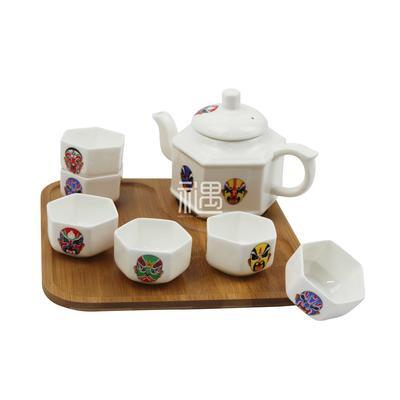 骨质瓷脸谱茶壶套装商务礼品