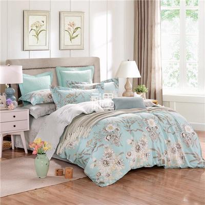 全棉色织印花床上用品四件套 花开盛时