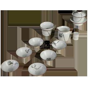 定窑陶瓷茶具云端定窑白鎏边手绘套组 商务礼品