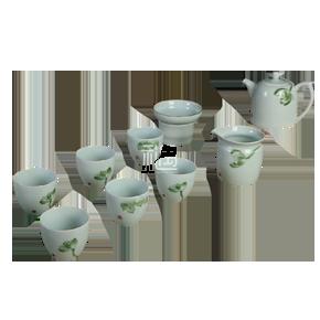 定窑陶瓷茶具五彩手绘秦权壶绿荷10入套组商务礼品