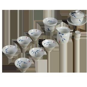 定窑陶瓷茶具三鱼图(盖碗)10头套组 商务礼品
